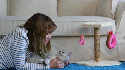 Asian Woman Playing Persian Cat In Living Room