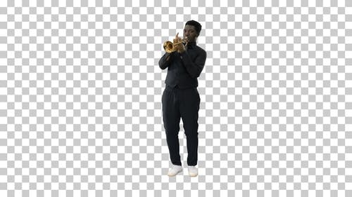 African american musician playing the, Alpha Channel