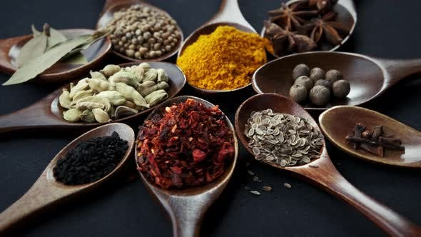 Thumbnail for Various Indian Spices of Rotation Black Background