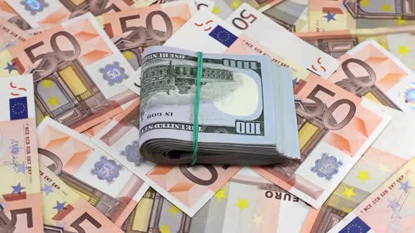 Cover Image for Rotating Hundred Dollar And Euro Banknotes 8