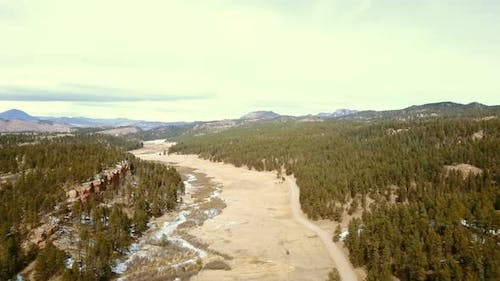 Aerial view of Pikes National Forest in the Winter