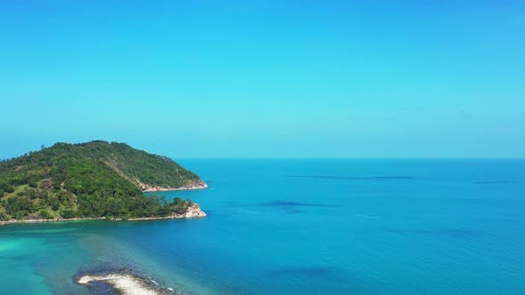 Thumbnail for Wide drone abstract view of a white paradise beach and turquoise sea background in high resolution