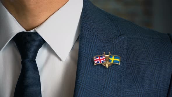 Businessman Friend Flags Pin United Kingdom Sweden