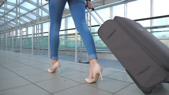 Thumbnail for Legs of Business Woman Going Through Hall of Terminal with Her Luggage. Girl in High Heels Stepping