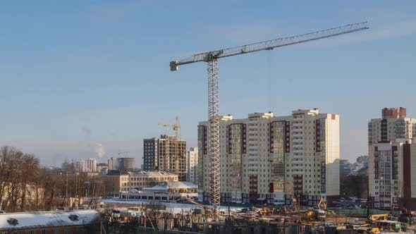 Thumbnail for Tower Cranes Working on Construction Site Residential Housing Estate Building Technology