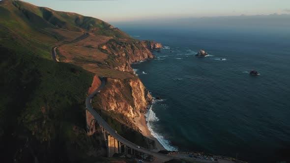 Thumbnail for Aerial Cinematic Video of Famous Landmark Amazing Bridge at Sunset, USA