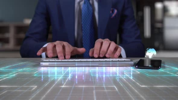 Businessman Writing On Hologram Desk Tech Word  Real Time Operation Data
