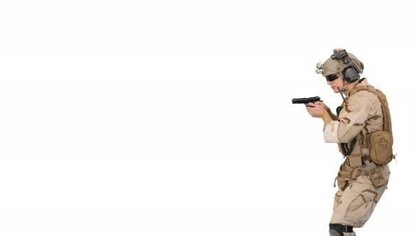 Thumbnail for Soldier Walking and Aiming with a Pistol on White Background.