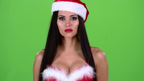 Thumbnail for Santa Woman Starts Smiles. Green Screen. Close Up