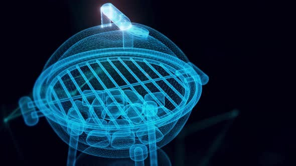 Round Empty Barbecue Grill Or Charcoal Grill Hologram Or Barbeque Grill Hologram Close Up 4k