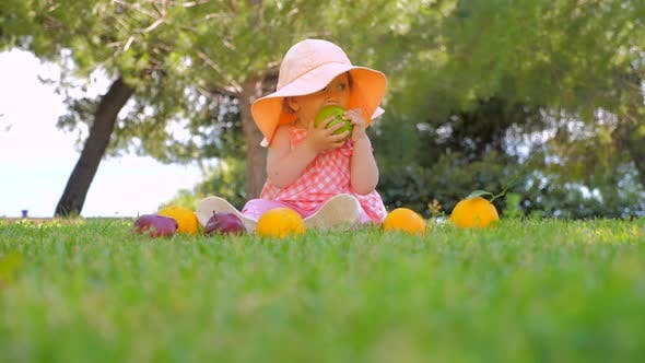Thumbnail for Organic Fruits Background. Kid Eating Organic Apple in Park. Child in Panama Having Fun Outdoor
