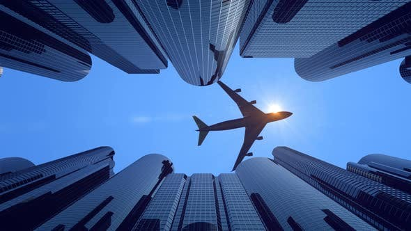 Thumbnail for Airplane Flying Low Over Skyscrapers