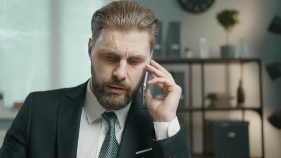 Thumbnail for Businessman Talking on Phone Closeup