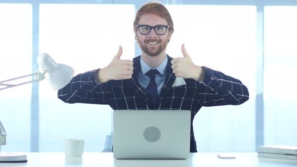 Thumbnail for Redhead Businessman Doing Thumbs Up gesture with Both Hands