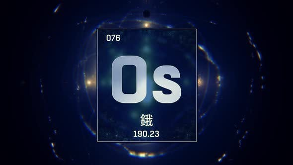 Thumbnail for Osmium as Element 76 of the Periodic Table on Blue Background in Chinese Language