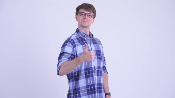 Cover Image for Happy Young Hipster Man Giving Thumbs Up