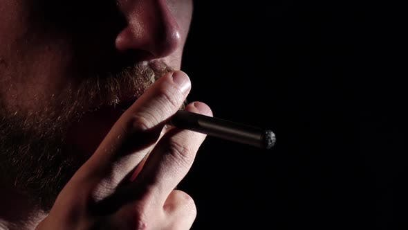 Thumbnail for Electronic Cigarette. Black. Silhouette, Slow Motion