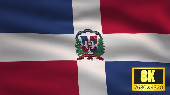 8K Dominican Republic Windy Flag Background