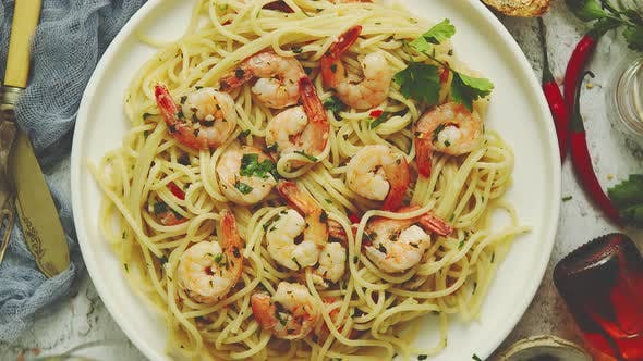 Seafood Concept. Pasta with Shrimps in a Plate, Close-up, Copy Space, Top View, Flat Lay