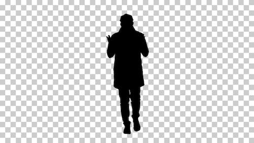 Silhouette Man walking and making gestures, Alpha Channel.