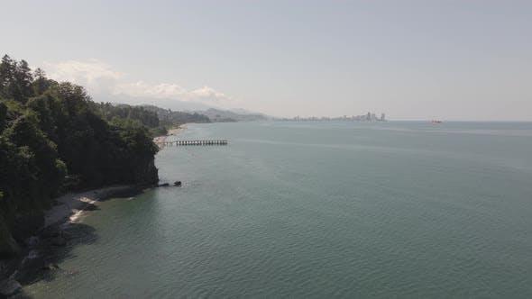 Beautiful aerial view of Green Cape near Botanical Garden of Batumi