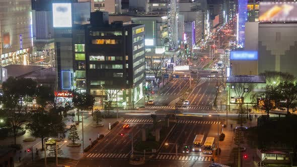 Thumbnail for Nagoya Highway Heavy Traffic at Night Timelapse