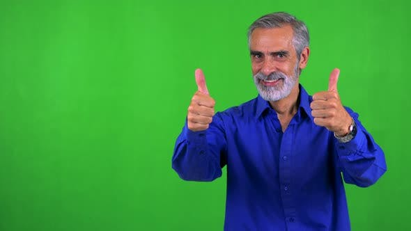 Thumbnail for Old Senior Man Shows Thumbs Up on Agreement - Green Screen - Studio