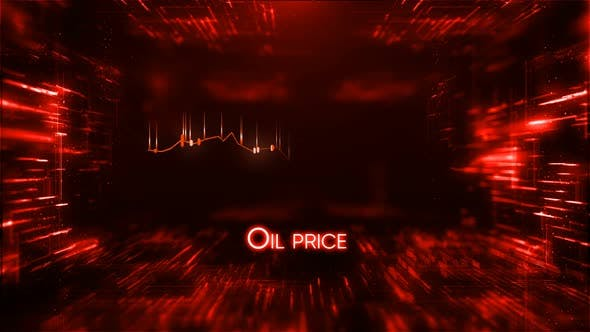 Oil Price Decline Chart with 3d Diagrams on Background