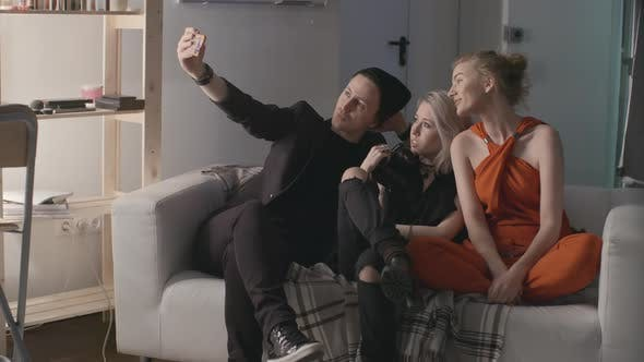 Thumbnail for Team Taking Selfies After Photoshoot