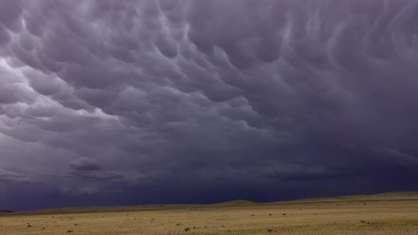 Mammatus Clouds Dramatic Sky and Steppe