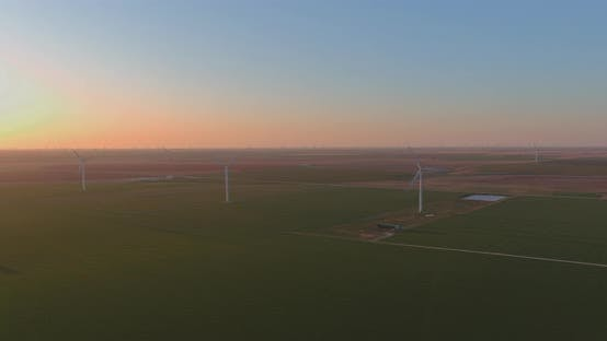A Wind Farm at Sunset in Texas