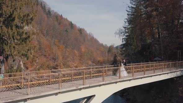 Cover Image for Newlyweds, Bride and Groom on a Bridge Over a Mountain River, Aerial View