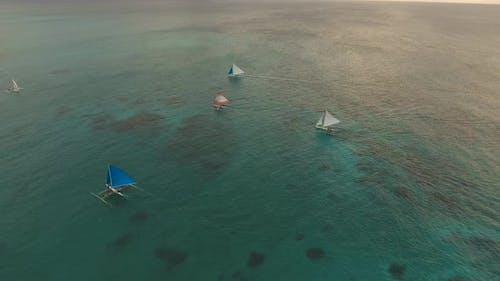 Sailing Yachts at Sunset