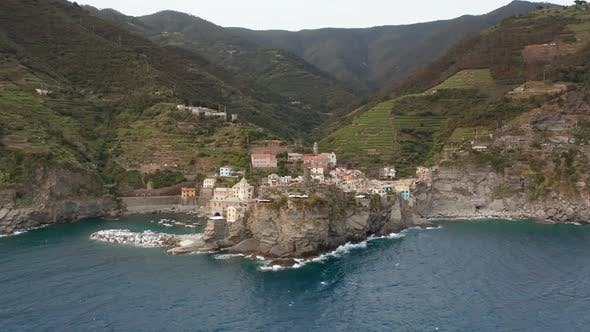 Aerial View of the Colorful Village of Vernazza in the Cinque Terre Reserve Italy
