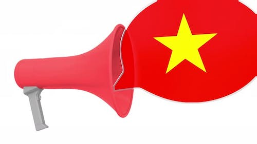 Megaphone and Flag of Vietnam on the Speech Bubble