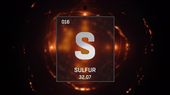 Sulfur As Element 16 Of The Periodic Table On Orange Background