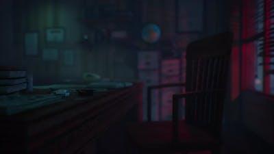 Small Retro Office at Night