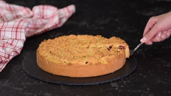 Thumbnail for Delicious Cherry Cake with Shortcrust Pastry and Vanilla Pudding.