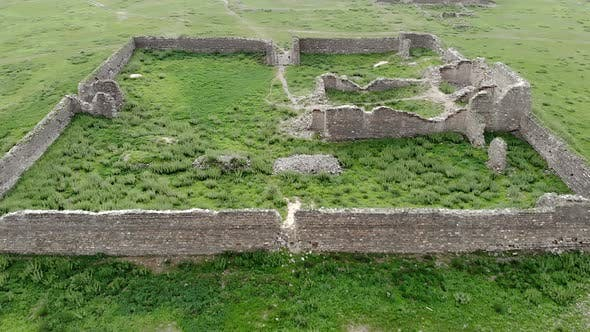 Ruins of Ancient City, Building and Wall From Ancient Times in Treeless Vast Plain