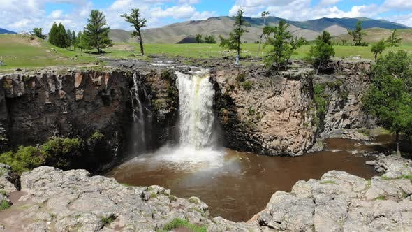 Aerial Orkhon Waterfall in Mongolia