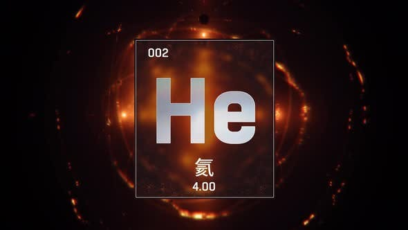 Thumbnail for Helium as Element 2 of the Periodic Table on Orange Background in Chinese Language