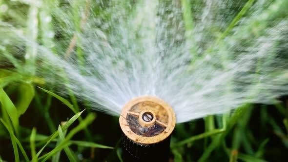 Thumbnail for Wasserspritzen aus dem Sprinkler auf dem grünen Rasen. Bewässerungssystem Sprinkler