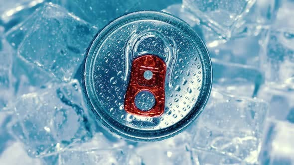 Thumbnail for Aluminum Soda Tin Can Lid Cover of Soft Drink on Ice Goes Around the Circle