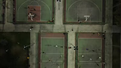 Drone Shot Young Mens Playing Volleyball