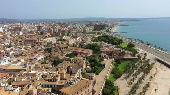 Thumbnail for Aerial Drone Video Footage of Old Town In Palma Mallorca