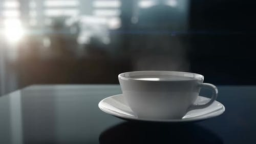 Early Sunny Morning and Breakfast with Cup of a Hot Coffee on the Kitchen Table