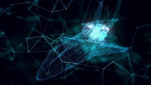 Space Shuttle Hologram Close Up 4k