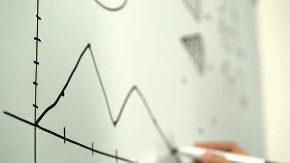 Thumbnail for Graph Drawn on a Whiteboard By a Businessman
