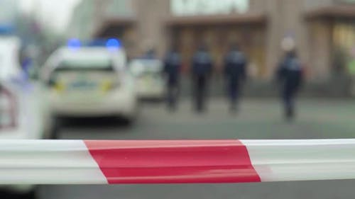 Barrier Warning Police Tape at the Crime Scene. Kyiv. Ukraine