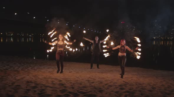 Thumbnail for Performance of Fireshow Outdoor in City Twilight